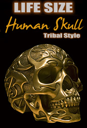 Human Tribal Skull Life Size Tattoo